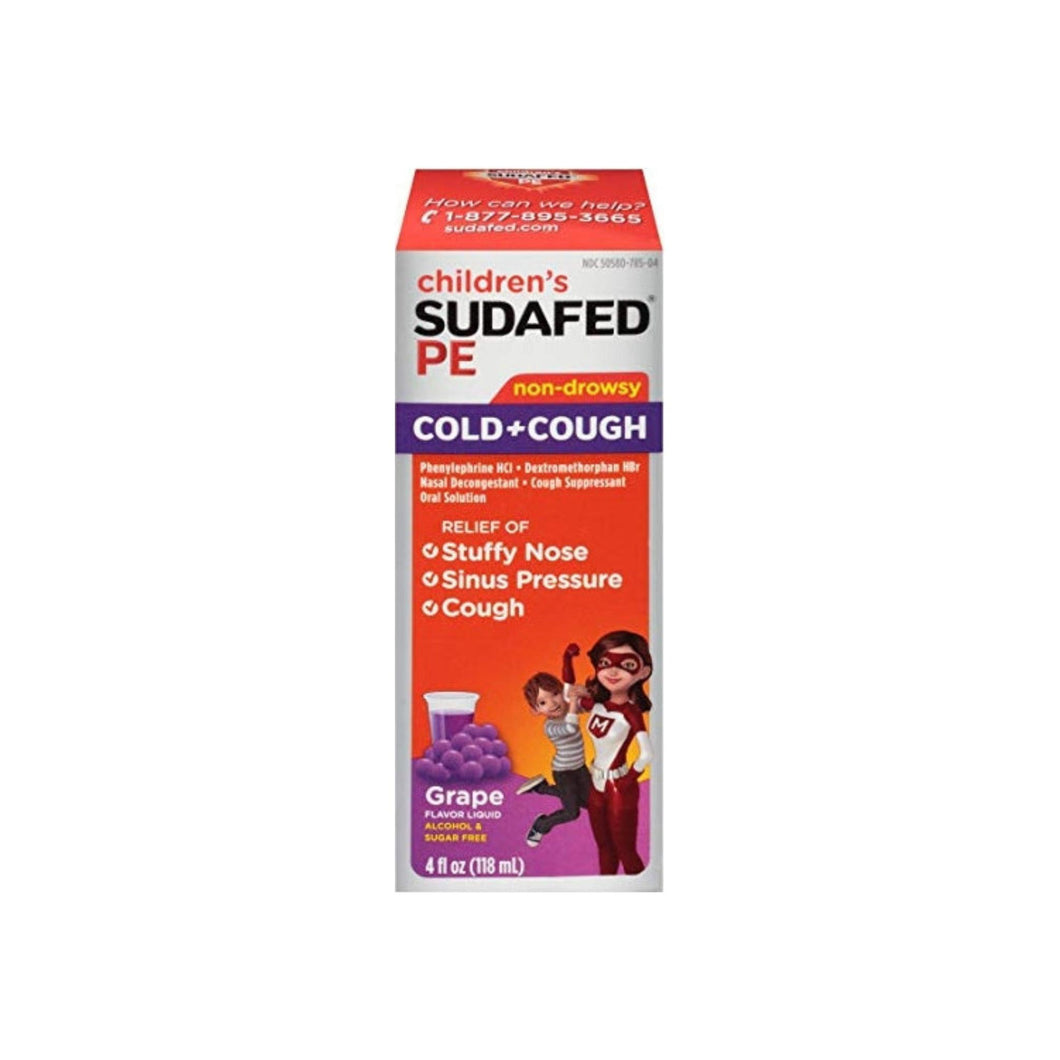 SUDAFED PE Children's Cold & Cough Liquid Grape 4 oz