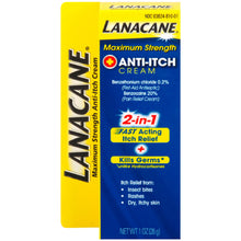 Load image into Gallery viewer, Lanacane Maximum Strength Anti-itch Cream 2in1 Fast Acting Itch Relief and Kills Germs 1 oz