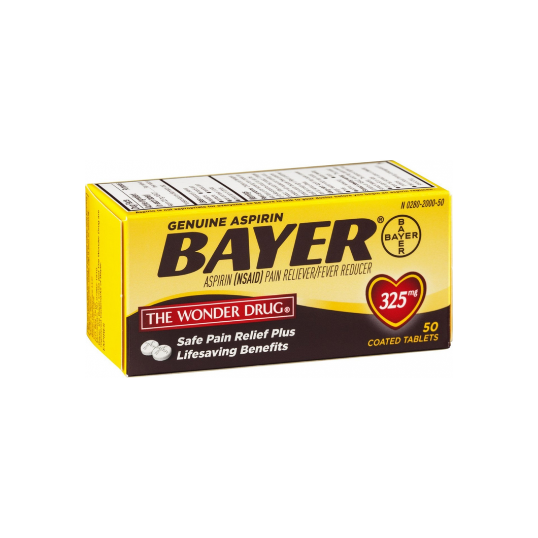 Bayer Genuine Aspirin Coated Tablets, 325 mg,  50 ea
