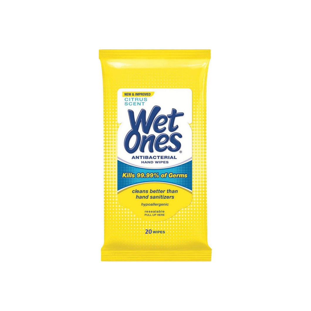 WET ONES Antibacterial Hand Wipes, Citrus Scent 20 ea