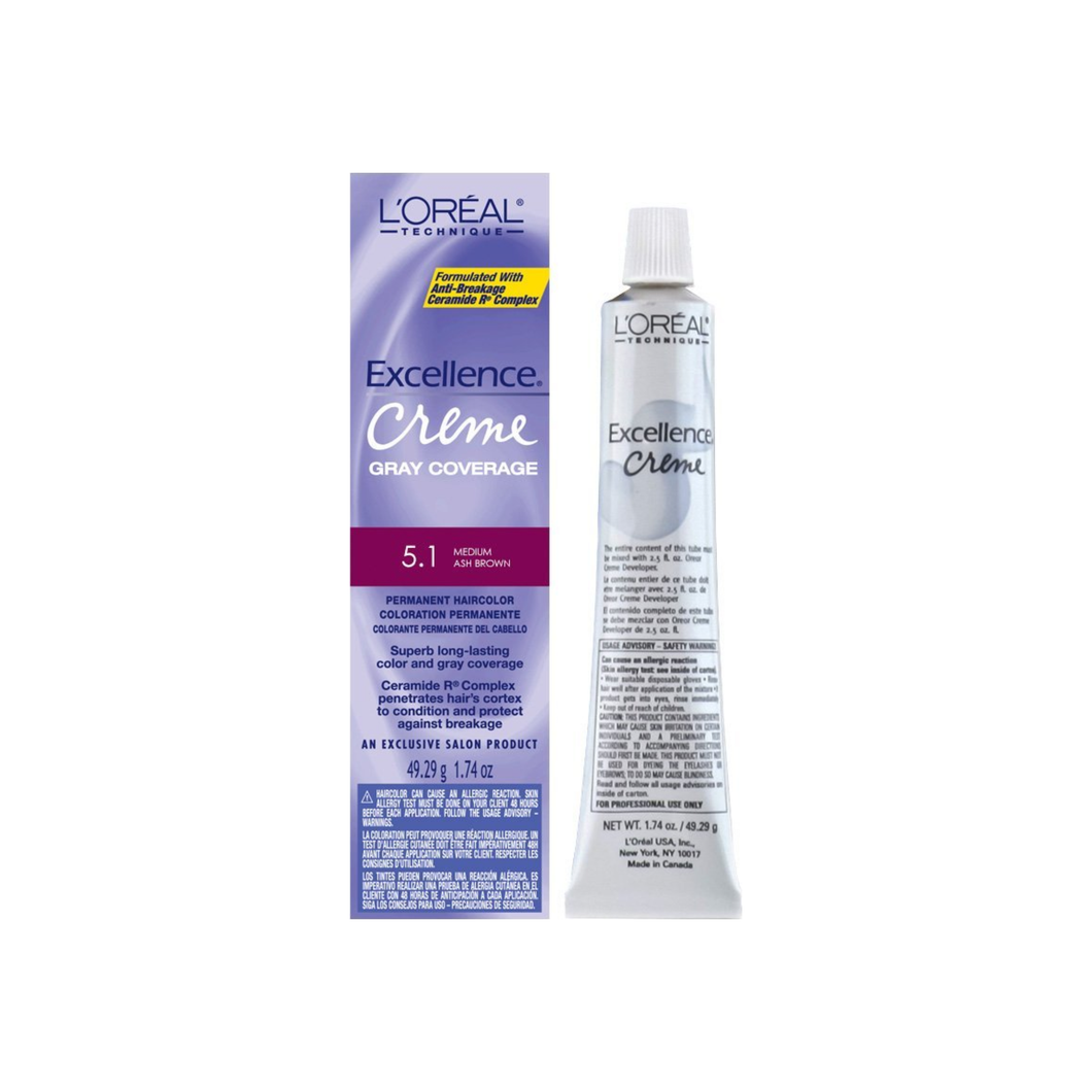 L'Oreal Excellence Creme Permanent Hair Color, Medium Ash Brown #5.1, 1.74 oz