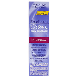 L'Oreal Excellence Creme Gray Coverage Permanent Hair Color, Lightest Golden Brown [6 1/2.3] 1.74 oz