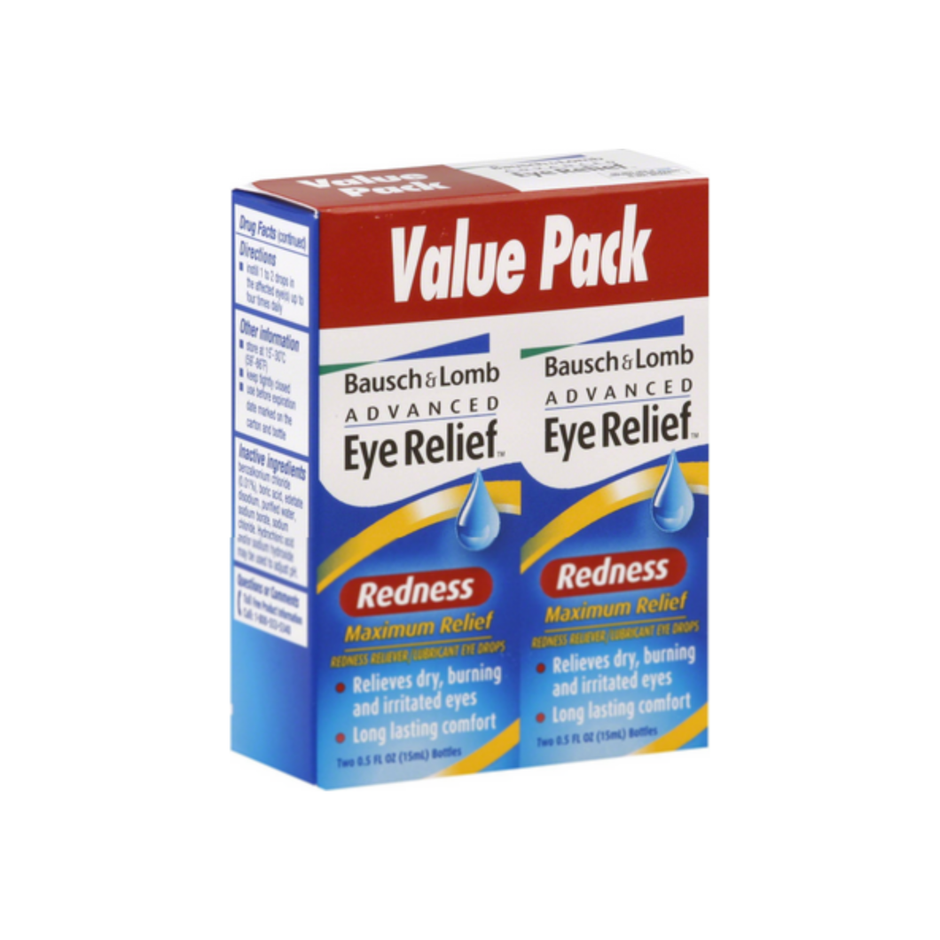 Bausch & Lomb Advanced Eye Relief Maximum Redness Reliver, Value Pack, 0.5 oz