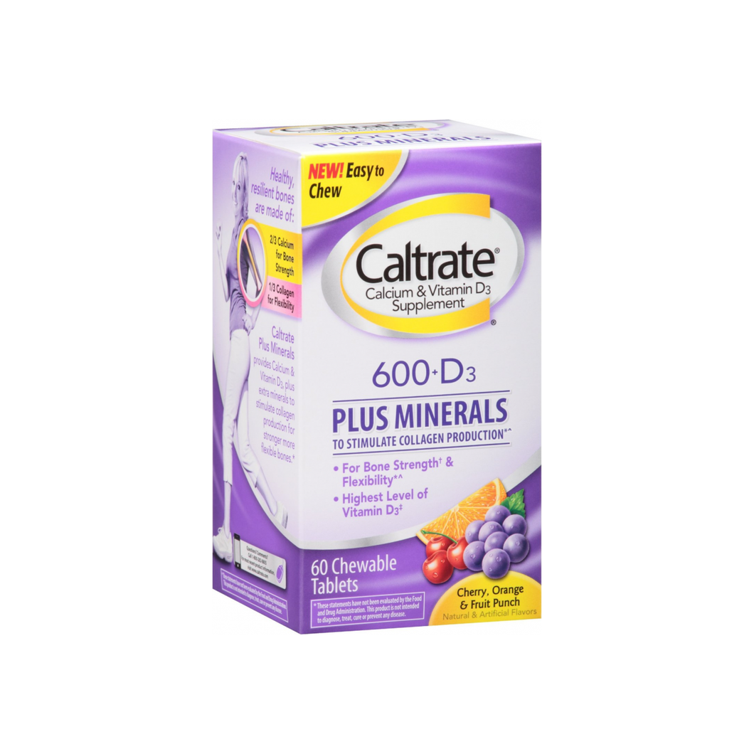 Caltrate Calcium & Vitamin D Plus Minerals, 600+D, Chewables, Orange & Fruit Punch, 60 ea