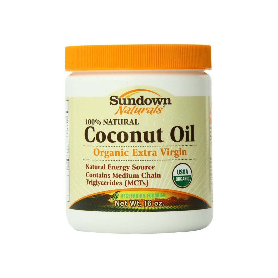 Sundown Naturals 100% Natural Coconut Oil, Organic Extra Virgin 16 oz