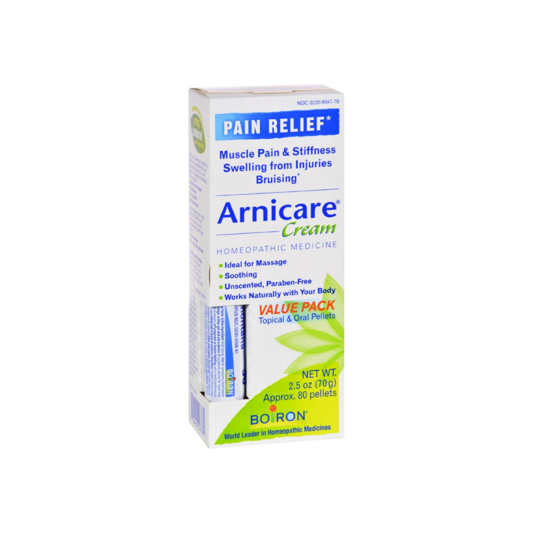 Boiron Arnicare Arnica Cream for Pain Relief & Blue Tube Value Pack 2.5 oz