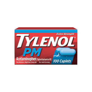 TYLENOL PM Extra Strength Pain Reliever/Nighttime Sleep Aid Caplets 100 ea [300450482112]