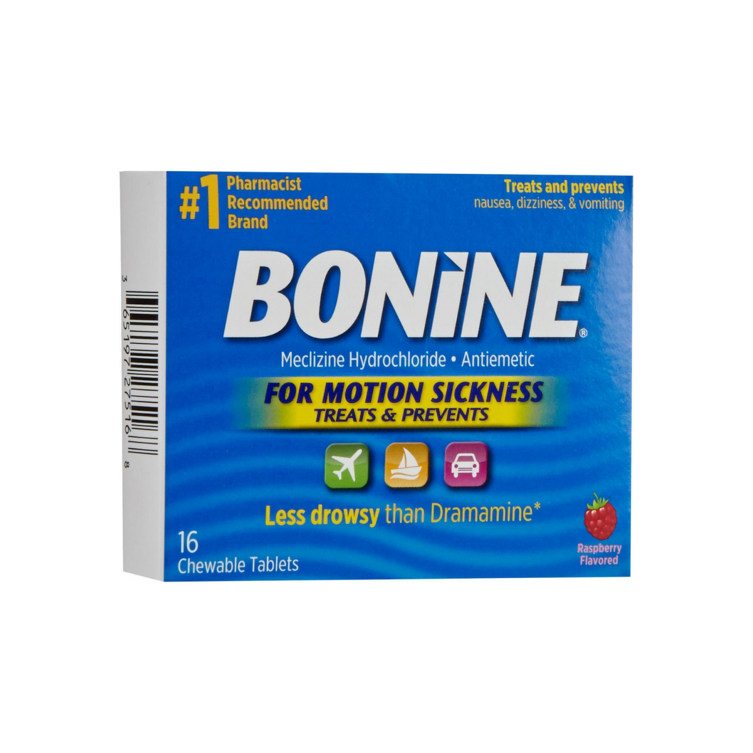 Bonine Chewable Tablets for Motion Sickness, Raspberry 16 ea