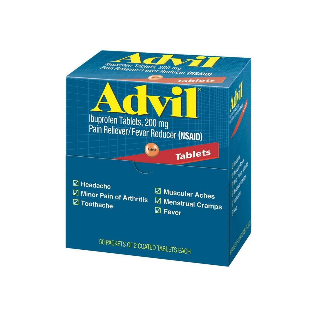 Advil Ibuprofen, 200mg, 50 Packets of 2 Coated Tablets