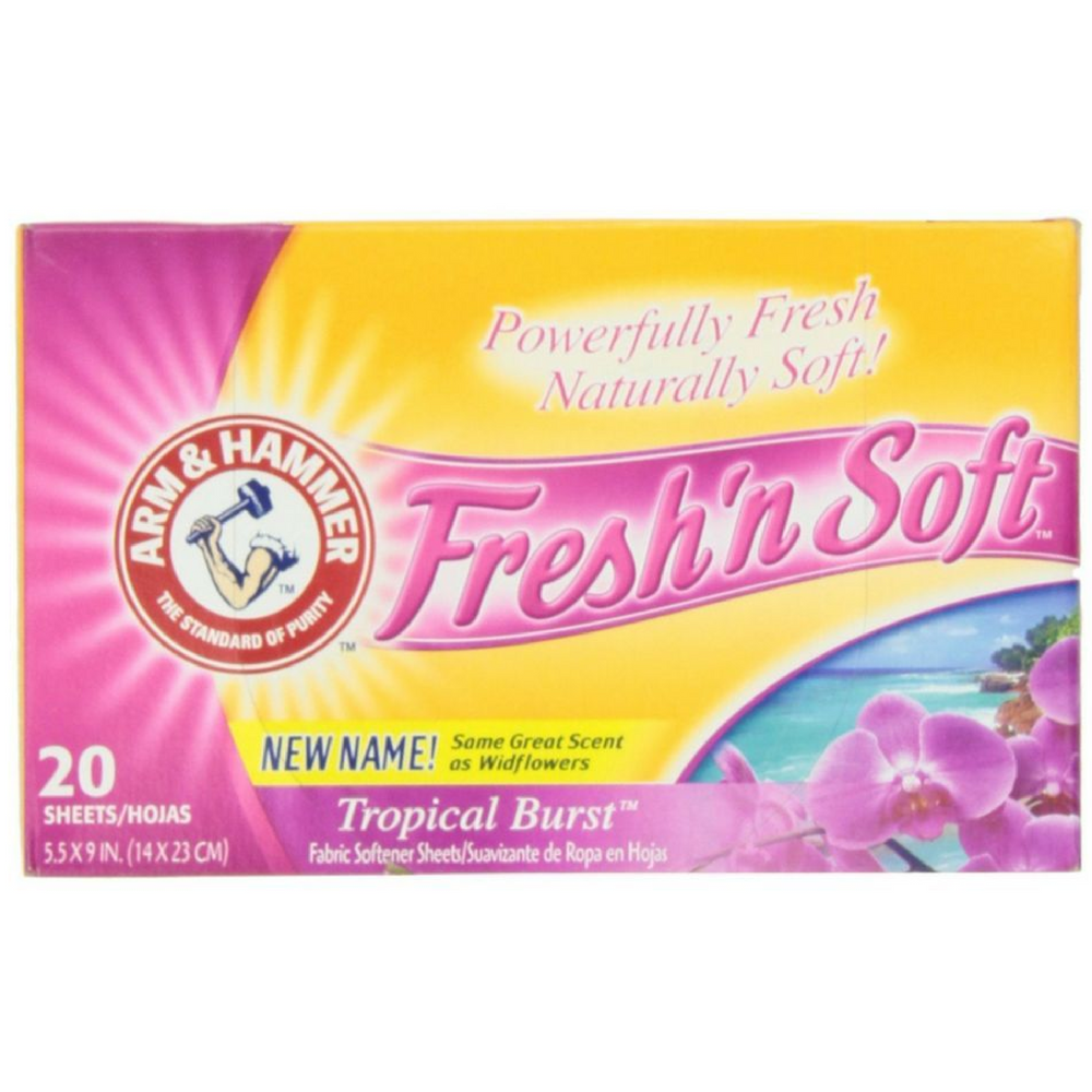 ARM & HAMMER Fresh'n Soft Fabric Softening Sheets, Tropical Burst 20 ea