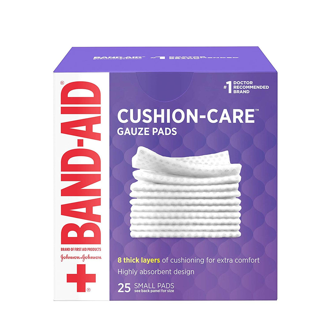 BAND-AID First Aid Cushion-Care Gauze Pads, 2in x 2in, 25 ea
