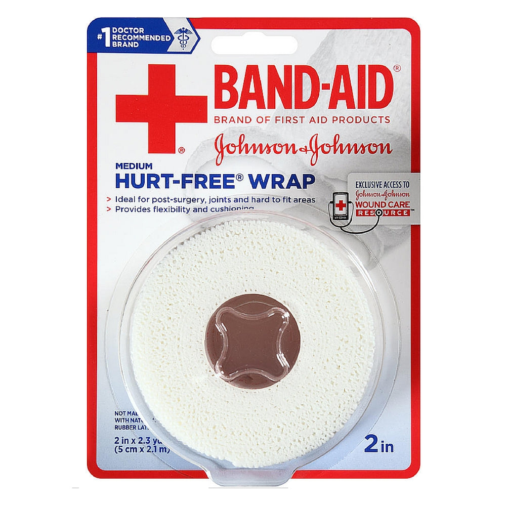 BAND-AID First Aid Hurt-Free Wrap, Medium 2 inch, 1 ea
