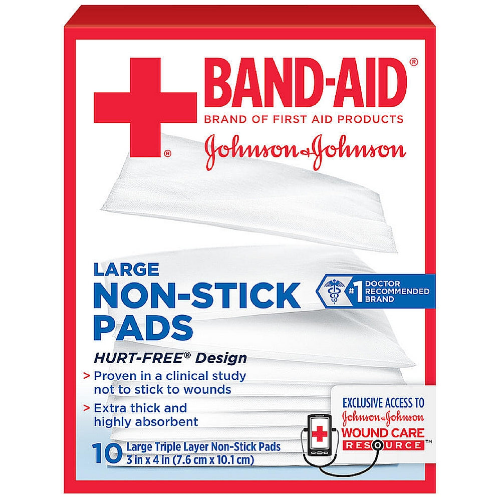 BAND-AID First Aid Non-Stick Pads, Large, 3 in x 4 in, 10 ea