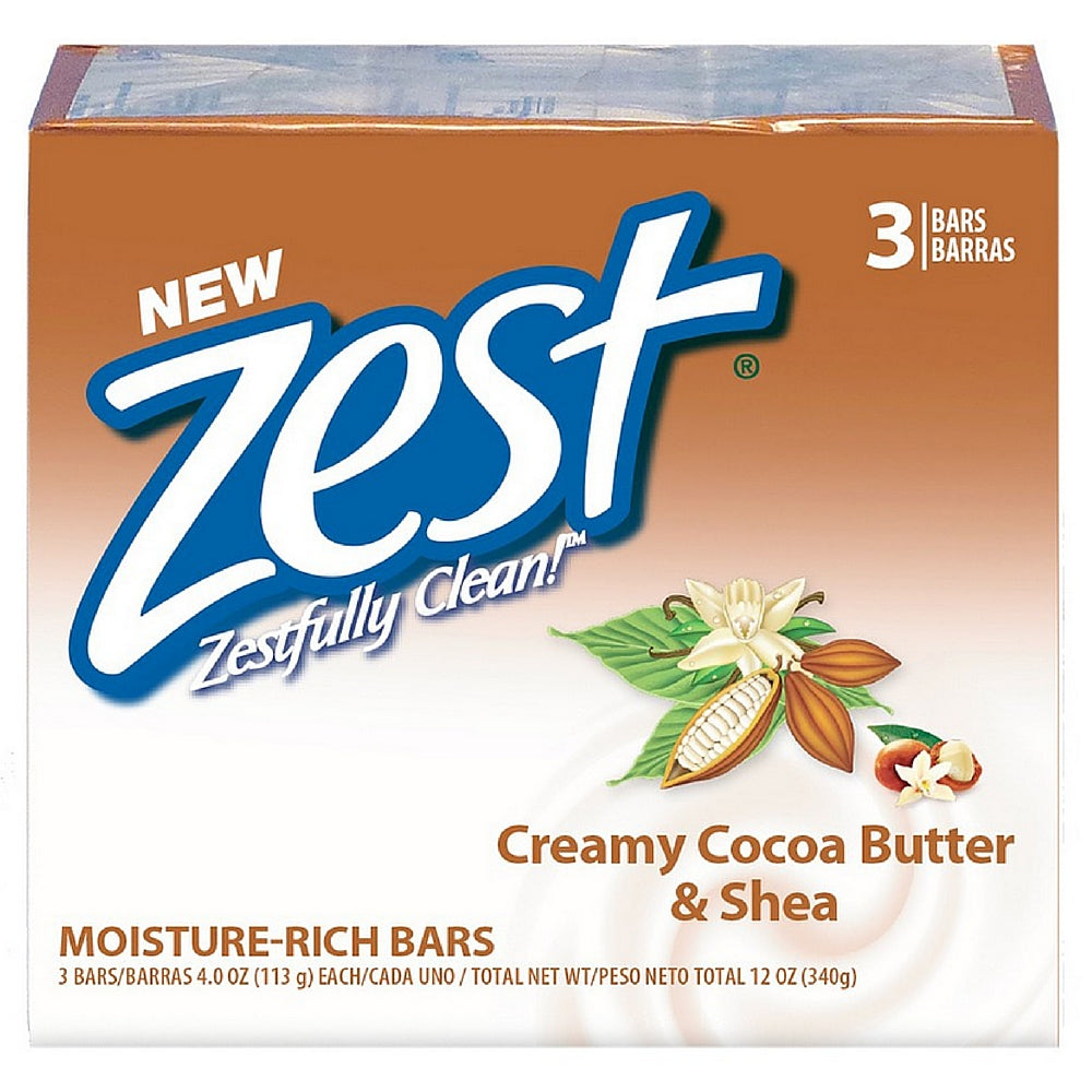 Zest Bath Bars, Cocoa Butter & Shea, 4 oz bars, 3 ea