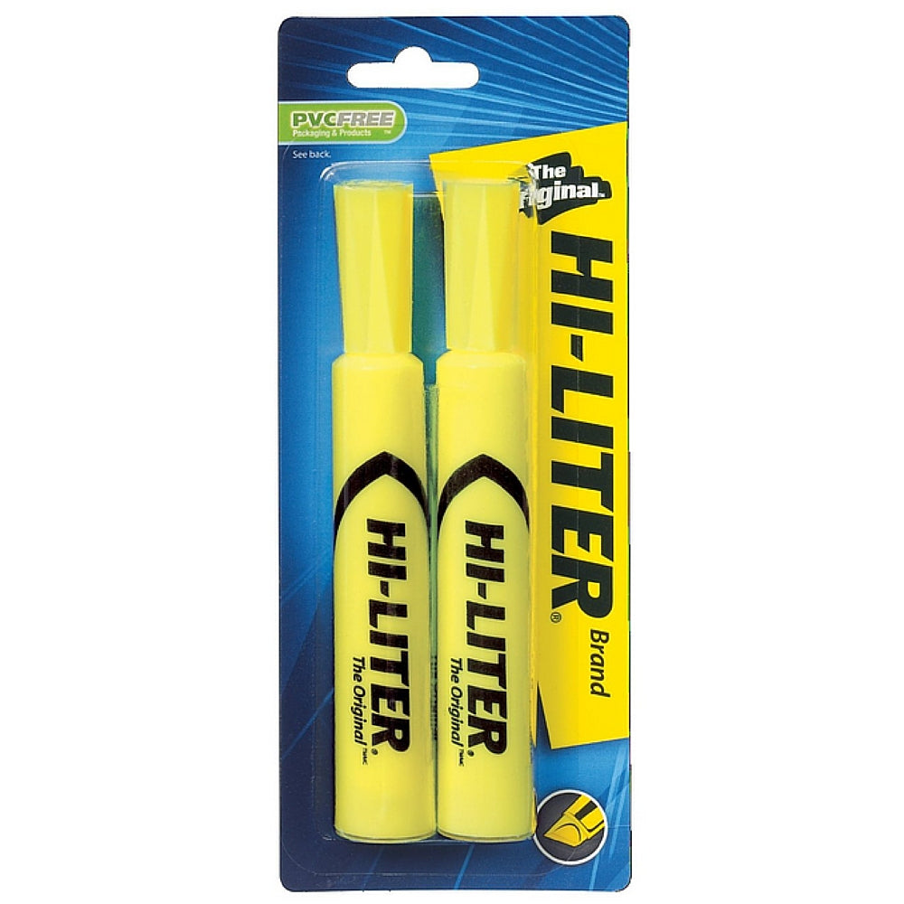 Avery Hi-Liter Desk Style Highlighter, Chisel Point, Yellow 2 ea