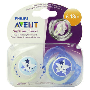 Philips Avent BPA Free Night Time Pacifier, 6-18 Months 2 ea