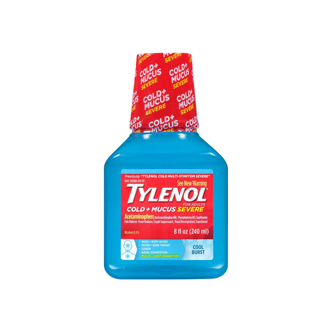 TYLENOL Cold + Mucus Severe Relief Liquid, Cool Burst 8 oz - Pharmapacks