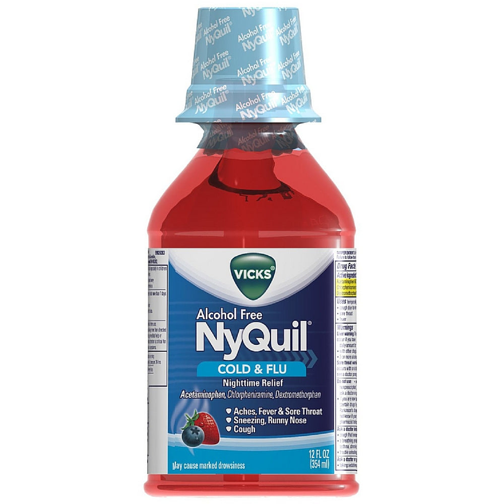 Vicks Nyquil Cold & Flu Nighttime Relief Liquid, Alcohol Free, Berry Flavor  12 oz