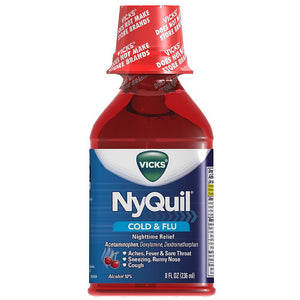 Vicks Nyquil Cold & Flu Nighttime Relief Liquid, Cherry Flavor 8 oz