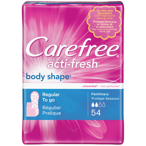 CAREFREE Acti-Fresh Body Shape Regular To Go Pantiliners, Unscented 54 ea