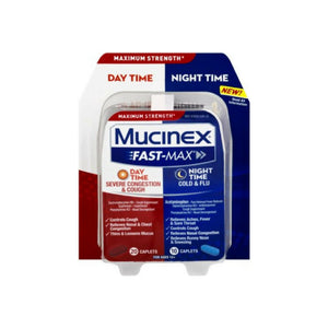 Mucinex Fast-Max Adult Day and Night Severe Congestion & Cough / Cold & Flu, 30 ct