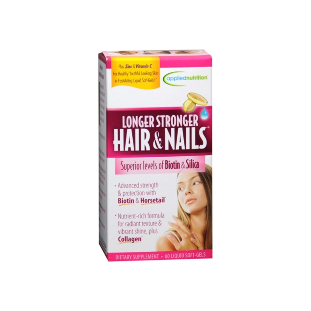 Applied Nutrition Longer Stronger Hair & Nails Liquid Soft-Gels 60 60 Soft Gels