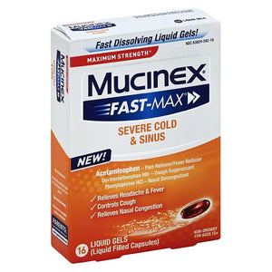 Mucinex Fast-Max Max Strength, Congestion & Headache Liquid Gels 16 ea