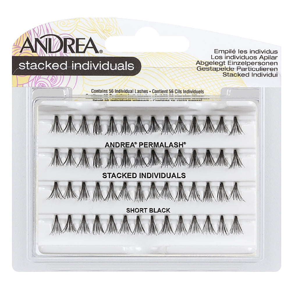Andrea Stacked Individuals Short Black Lashes 56 ea