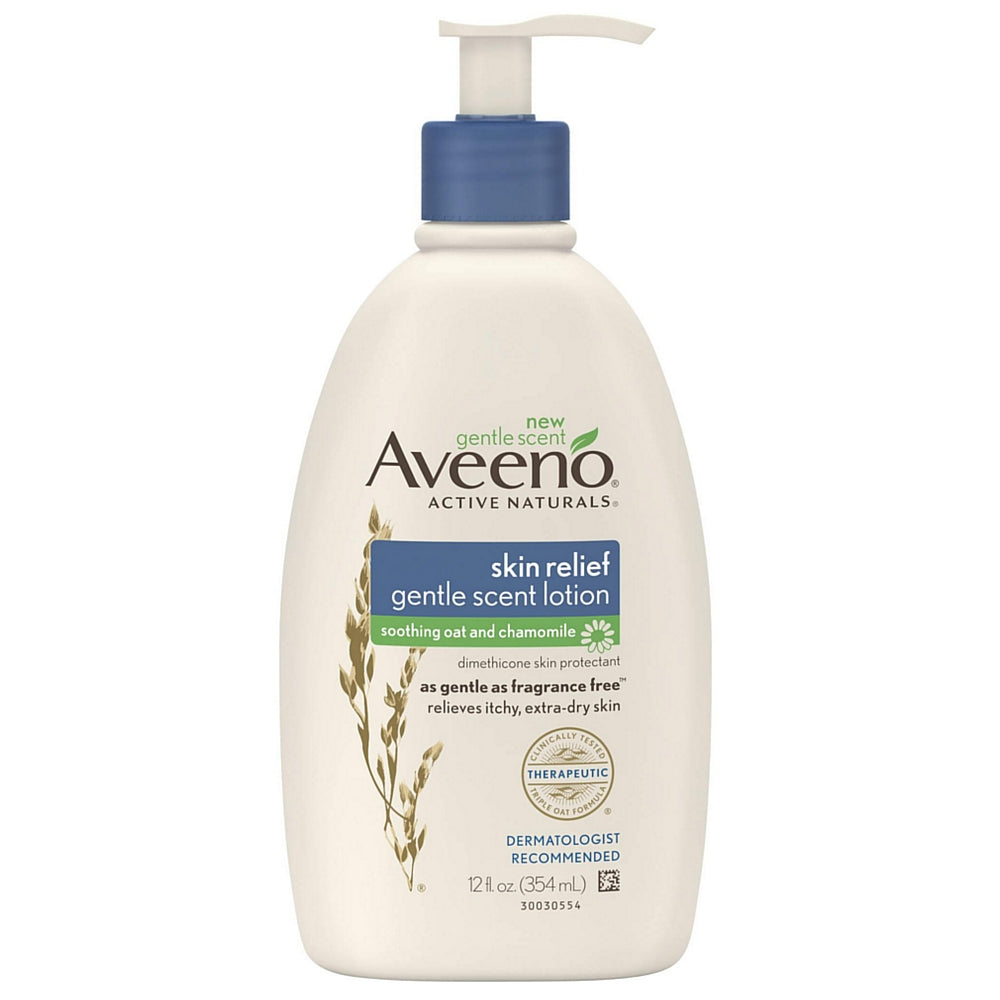 AVEENO Active Naturals Skin Relief Gentle Scent Lotion, Soothing Oat and Chamomile 12 oz
