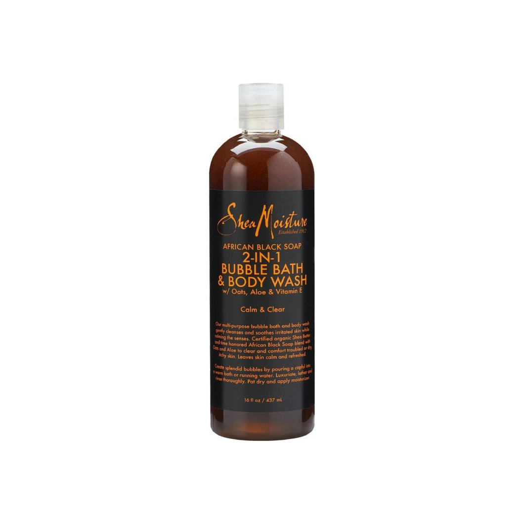 Shea Moisture African Black Soap 2-in1 Bubble Bath & Body Wash 16 oz