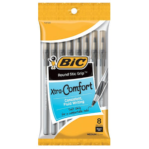 Bic Xtra-Comfort Round Stic Grip Medium Point Ball Pen, Black 8 ea
