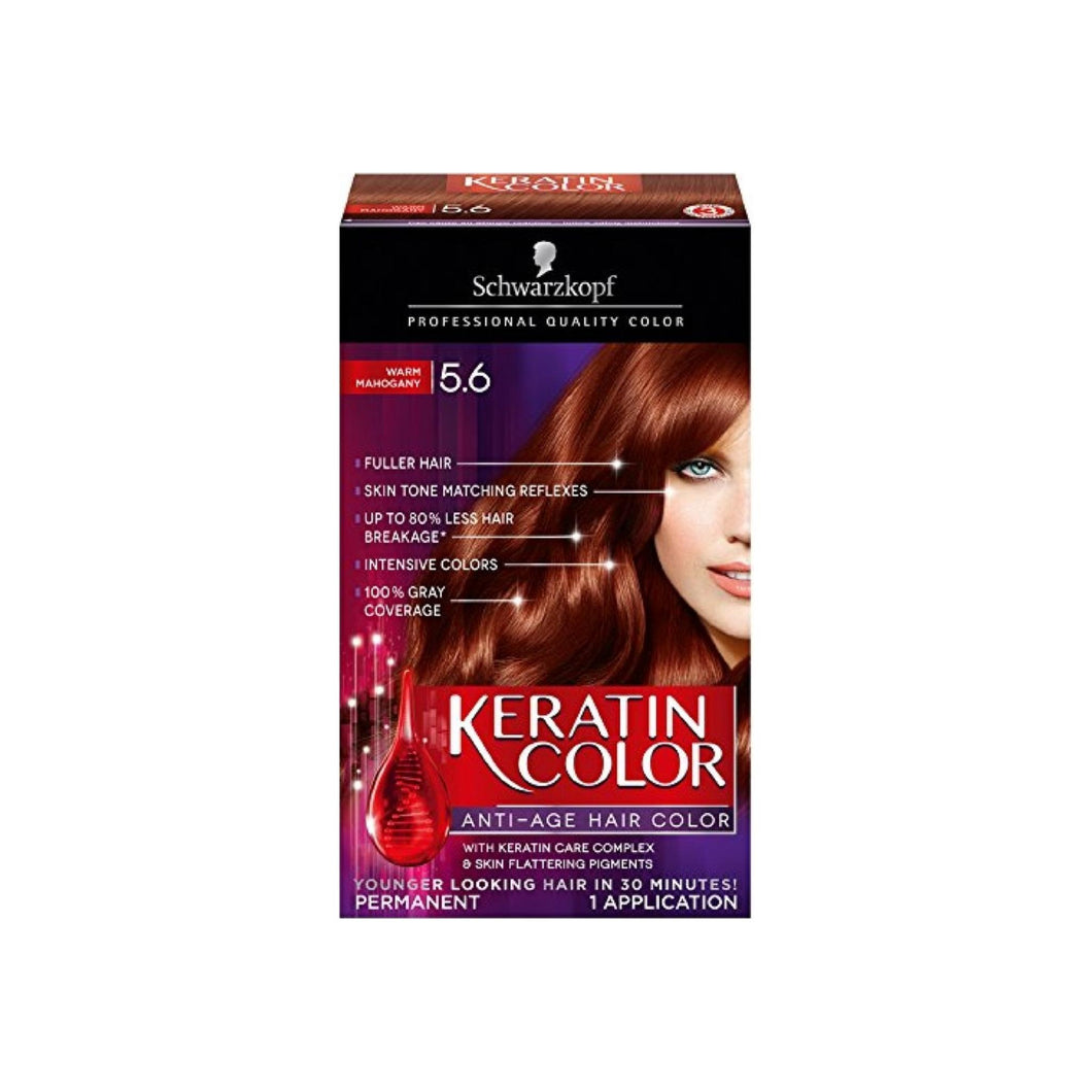 Schwarzkopf Keratin Color Anti-Age Hair Color Kit, Warm Mahogany 1 ea