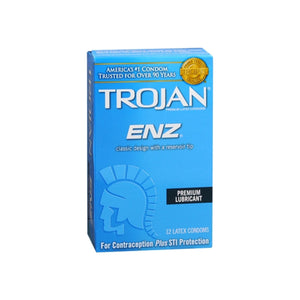 TROJAN Enz Lubricated Latex Condoms 12 Each