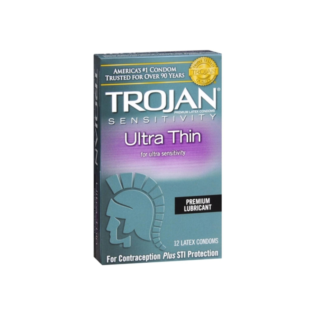 TROJAN Ultra Thin Lubricated Latex Condoms 12 Each