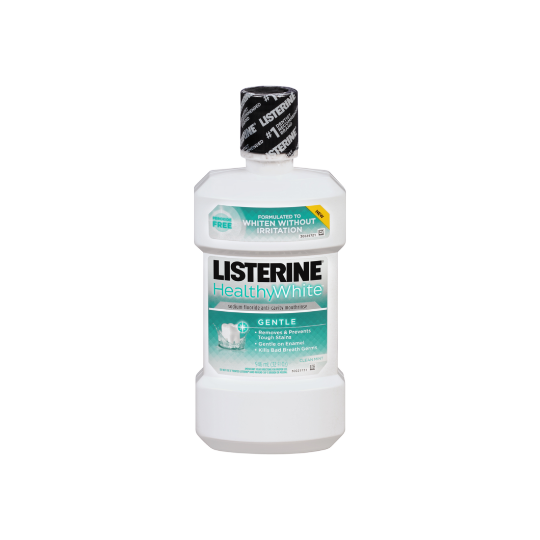Listerine Healthy White Anticavity Mouthwash, Clean Mint 32 oz