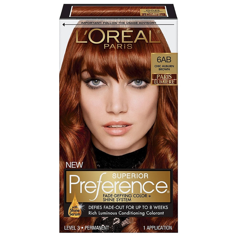 L'Oreal Paris Superior Preference Fade-Defying Color + Shine System, Chic Auburn Brown [6AB] 1 ea