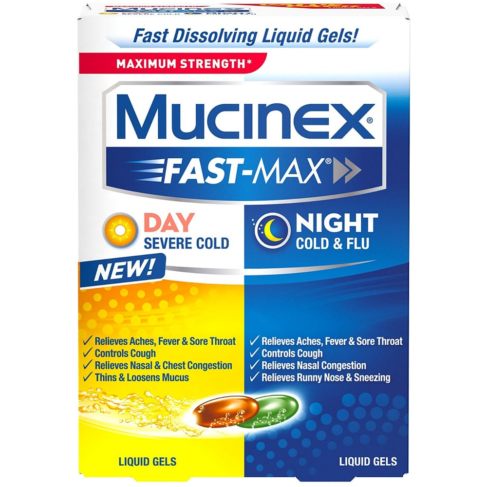 Mucinex Fast-Max Max Strength, Day Severe Cold & Night Cold & Flu Liquid Gels 24 ea