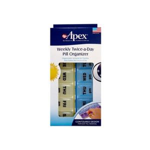 Apex Twice-A-Day Weekly Pill Organizer 1 ea (Color may vary)