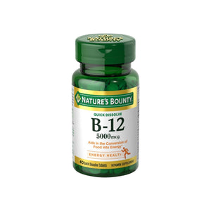 Nature's Bounty Vitamin B12 5000 mcg Quick Dissolve Tablets, Natural Cherry 40 ea