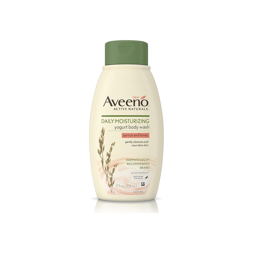 AVEENO Active Naturals Daily Moisturizing Body Yogurt Body Wash, Apricot & Honey 12 oz
