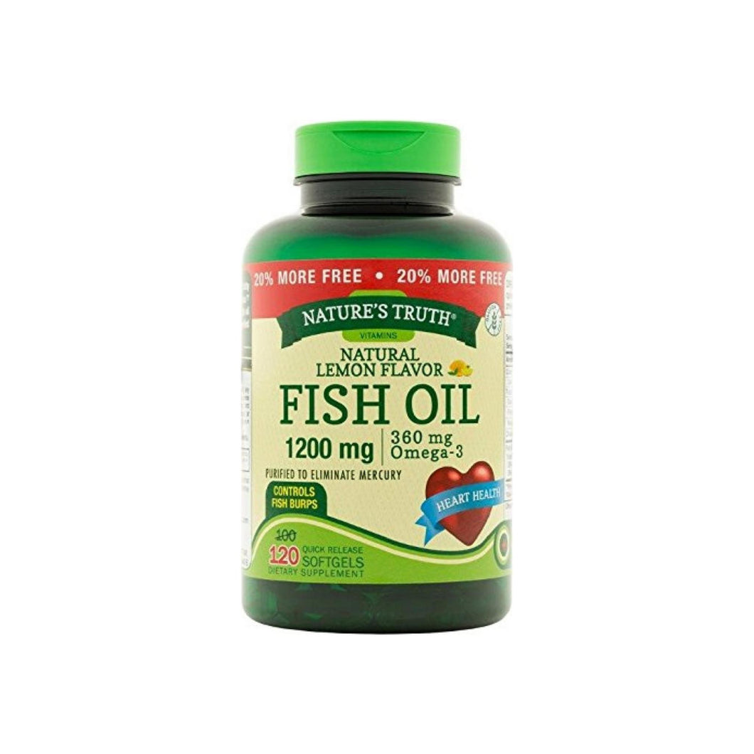 Nature's Truth Fish Oil Omega-3, Natural Lemon Flavor 120 ea