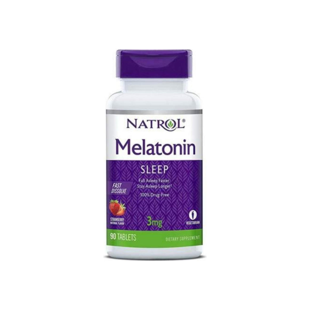Natrol Melatonin Fast Dissolve Tablets, Strawberry 3 mg 90 ea