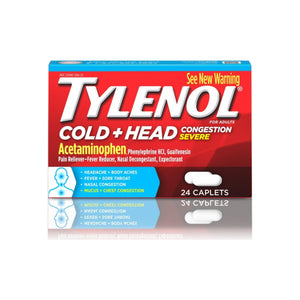 TYLENOL Cold Head Congestion Caplets For Adults, Severe, 24 ea - Pharmapacks