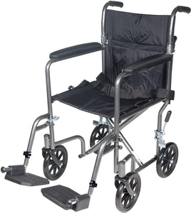 Drive Medical TR37E-SV Lightweight Steel Transport Wheelchair, Fixed Full Arms,17-Inch Seat 1 ea