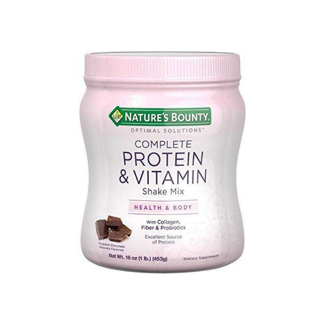 Nature's Bounty Optimal Solutions Complete Protein & Vitamin Shake Mix, Chocolate 16 oz