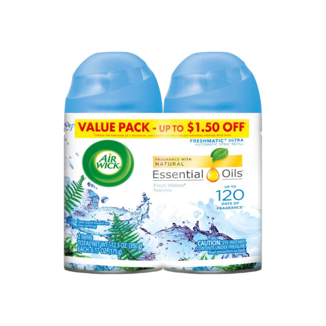 Air Wick Freshmatic Automatic Spray Air Freshener, Fresh Waters Scent, Twin Refills, 6.17 Oz, 2 ea