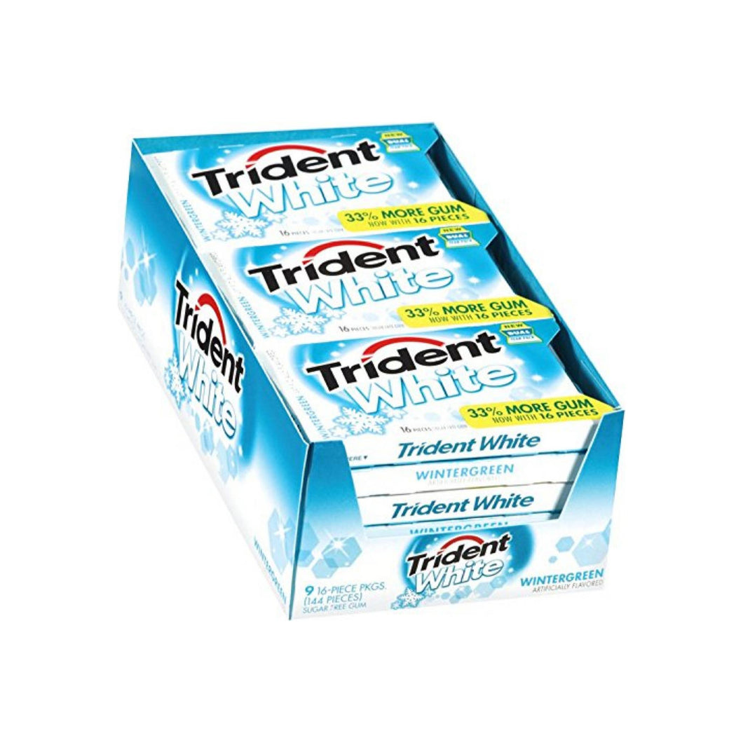 Trident White Sugar Free Gum, 16 Pieces Per Pack, Wintergreen 9 ea