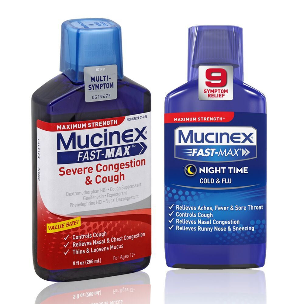 Mucinex Fast-Max Adult Nighttime Cold And Flu Liquid, 6 Oz