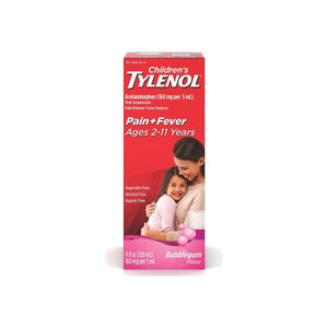 TYLENOL Children's Oral Suspension, Bubblegum  4 oz - Pharmapacks