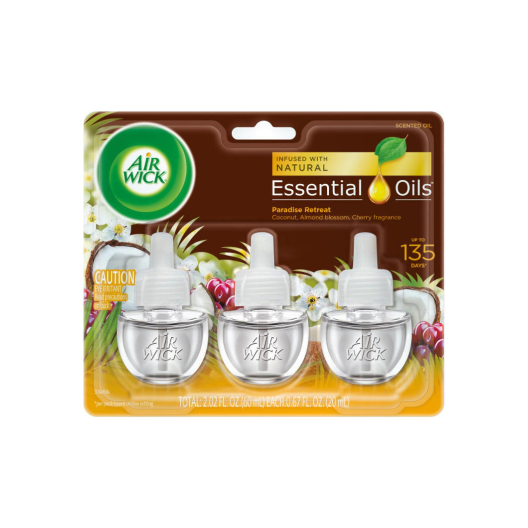 Air Wick Scented Oil Plug-in Air Freshener, Triple Refill, Life Scents Paradise Retreat, 3pk .67 oz